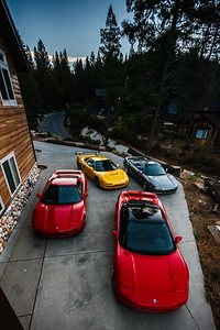 I head out on the balcony to check on our cars.  Despite coming from the Bay Area, Ed arrived last night just before the rest of us...so his is the one parked furthest up the driveway.  I parked mine alongside of his with Mario and Alan right behind.