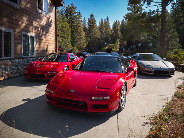 Ed arrived from the Bay Area last night just minutes ahead of us, so his NSX is the one parked at this end of the driveway