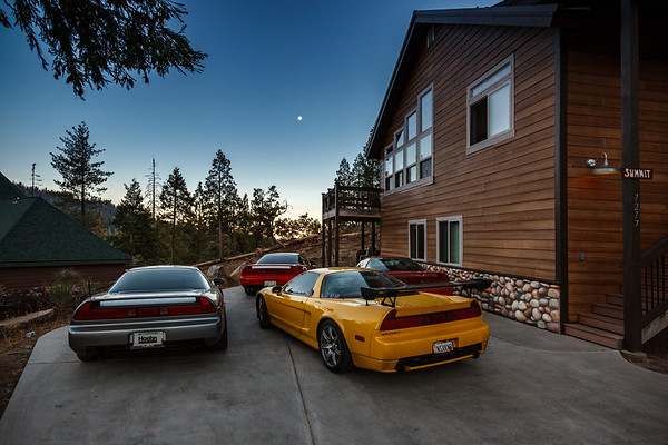 I head downstairs to catch a shot of the moon over our NSXs