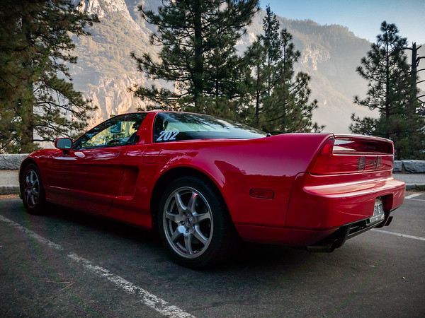 My NSX as the sun warms Yosemite Valley