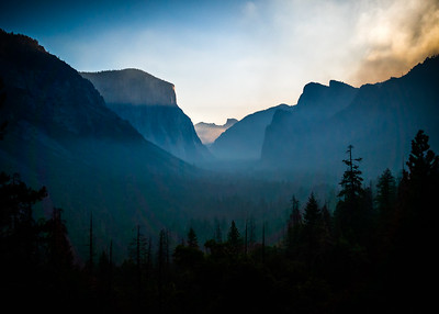 Sunlight reaches the peak of touching El Capitan