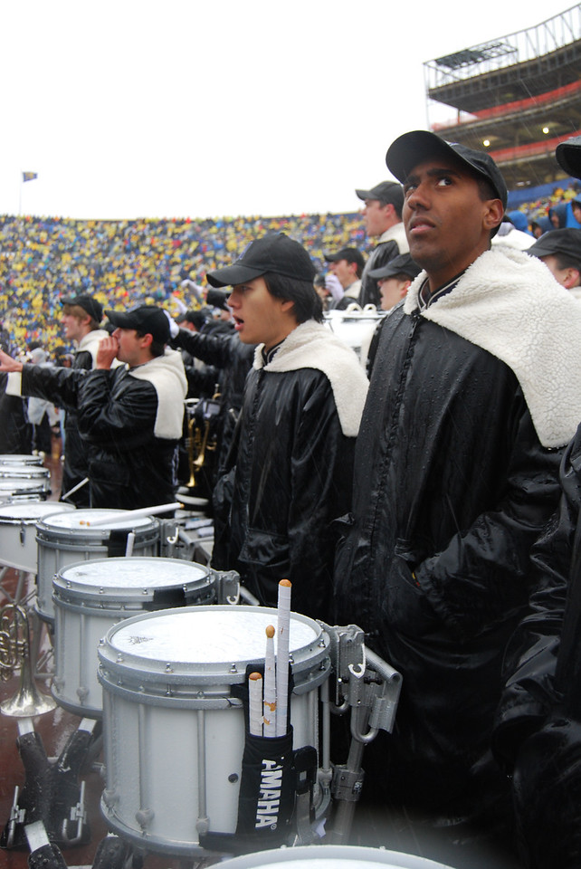 During a brief break in the weather, Skeptical Drumline is skeptical.