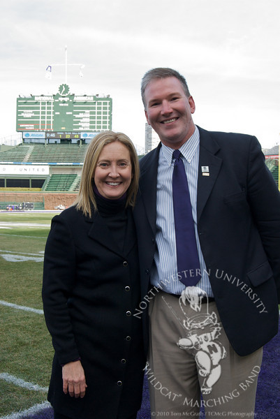 Dr. Thompson and Jim Cornelison, vocal soloist for the Chicago Blackhawks, before the Northwestern vs. University of Illinois football game at Wrigley Field. NUMB and Mr. Cornelison combined to perform The Star-Spangled Banner.