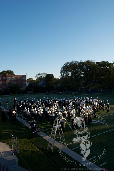 The Northwestern University Marching Band has music rehearsal prior to the Northwestern vs. Miami (Ohio) football game.