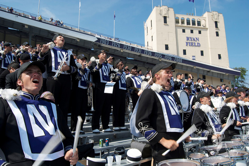 The Northwestern University Marching Band fires up the Wildcats, 9/12/2009
