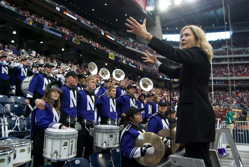 Dr. Thompson conducts the Northwestern Alma Mater at Reliant Stadium, Houston, Texas, after the Meineke Car Care Bowl of Texas, December 31, 2011