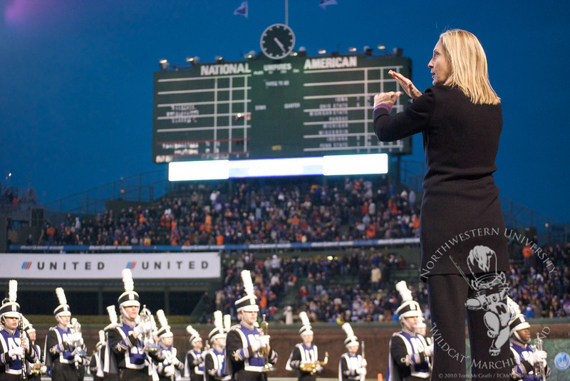 Dr. Thompson conducts NUMB at Chicago's Wrigley Field during the Northwestern vs. University of Illinois Wrigley Field Classic football game in 2010.