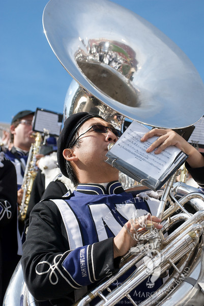 Dominic Macanas performs in the stands at the Northwestern/Indiana game in Bloomington, IN.