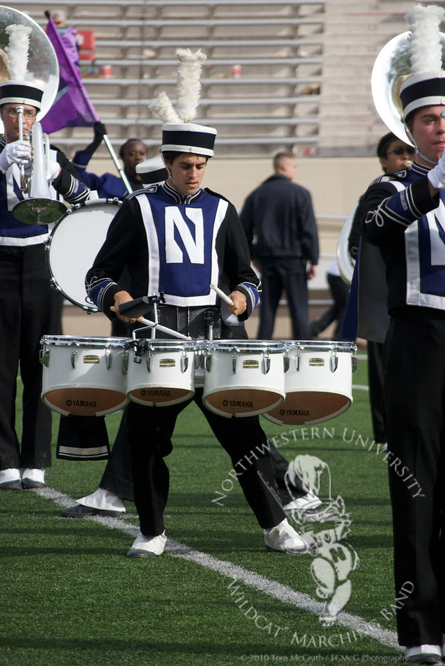 Drumline member Matt Strumpf performs during the postgame show of Northwestern's victory over Indiana, October 30, 2010
