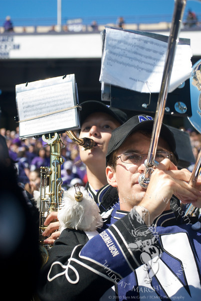 Northwestern vs. Central Michigan  at Ryan Field, September 25, 2010<br /> <br /> Margaret Koeppel (Tenor Saxophone) and Phillip Smith (Trombone) perform in the stands during the NU/CMU game on September 25th.