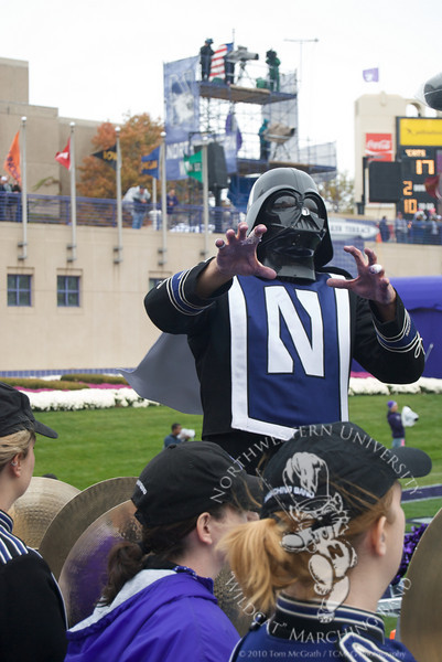 Spirit Leader Jed Feder dons a Darth Vader mask while NUMB plays The Imperial March.