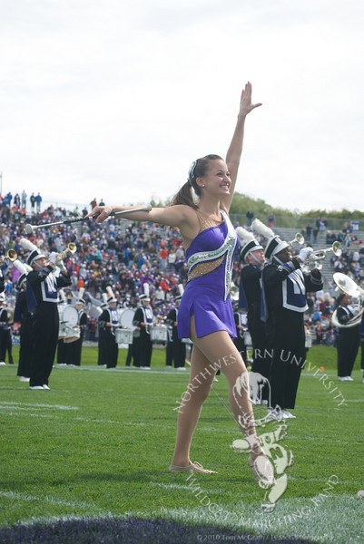 Northwestern vs. Central Michigan  at Ryan Field, September 25, 2010<br /> <br /> Feature Twirler Kali Maginity performs during halftime of the Northwestern vs. Central Michigan game.
