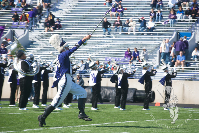 Northwestern vs. Central Michigan  at Ryan Field, September 25, 2010<br /> <br /> Drum Major Will Borges performs pregame drill before Northwestern's September 25th game against Central Michigan.