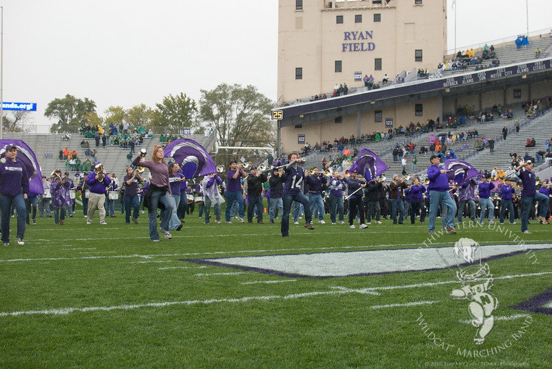 The NUMBAlums take the field for their pregame show at Northwestern's 2010 Homecoming game vs. Michigan State
