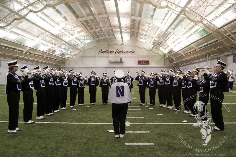 NUMB's Trumpet Section rehearses in Indiana University's indoor practice facility before the IU/NU game on October 30, 2010