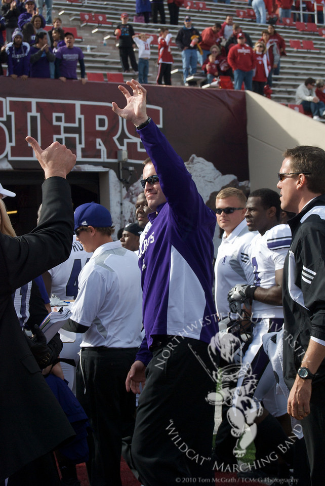 Coach Pat Fitzgerald expresses his appreciation to the Wildcat Marching Band after Northwestern's victory over Indiana, Octoer 30, 2010.
