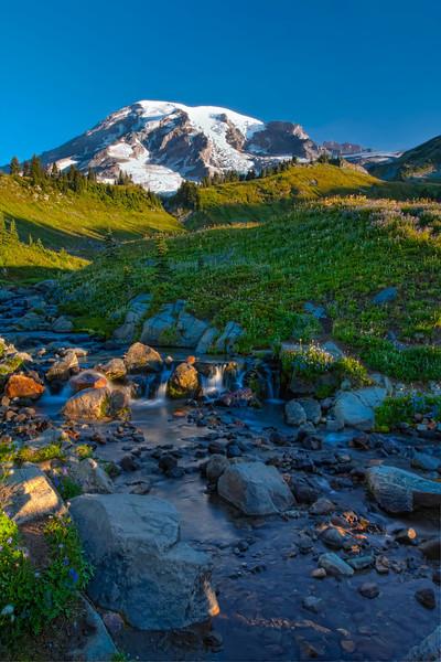 Morning Sunrise on a Majestic Mountain. Mt Rainier
