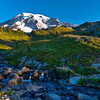 Morning Sunrise on a Majestic Mountain. Mt Rainier