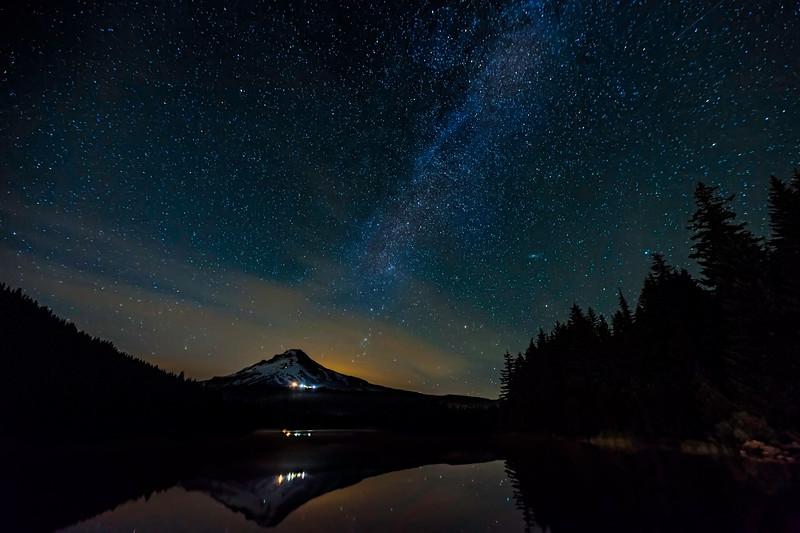 A Starry Night At Trillium Lake Oregon