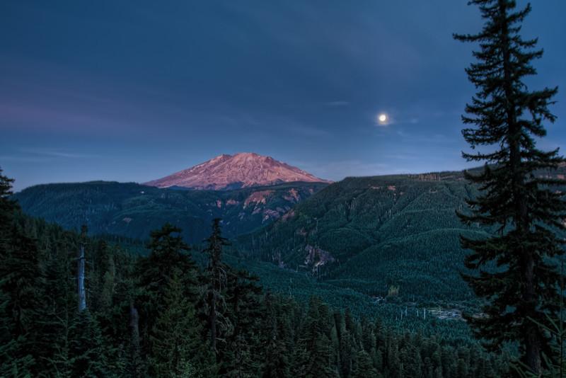 Harvest Moon and Mt Saint Helens