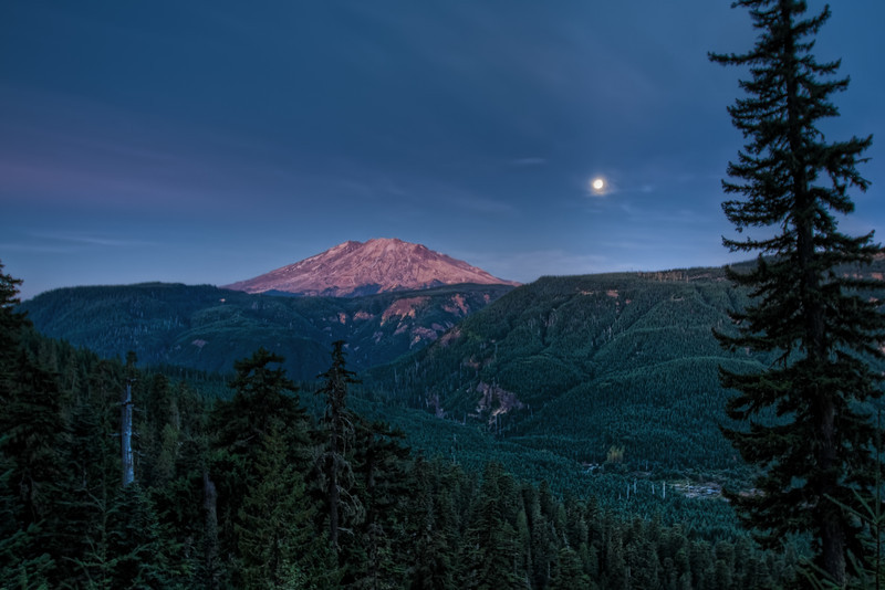Harvest Moon and Mt Saint Helens