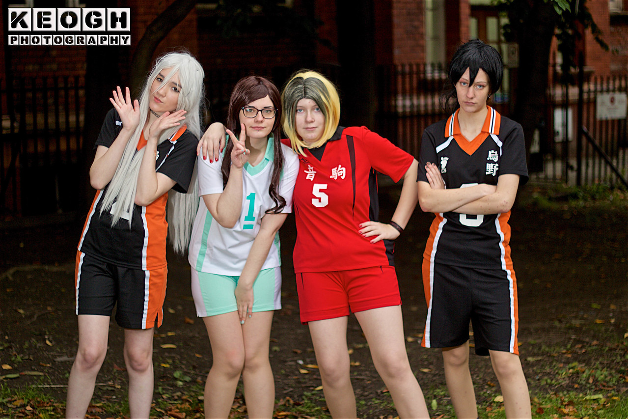 NW Cosplay Halloween Meet 2016, Anime, Manga, Cosplay, Cosplayers, Female, Volleyball, Haikyū!!, Shorts, Tops, Uniform, Team, Volleyball Kits, Stripes, Black, White, Orange, Red, Turquoise, Park, Trees, Grass, Leaves, Green, Brown, Orange