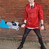 NW Cosplay Summer Meet 2016, Cosplay, Cosplayer, Male, Anime, Manga, Video Game, RWBY, Neptune Vasilias, Leather Jacket, Shirt, Tie, Pants, Trousers, Wrist Guards, Glasses, Goggles, Sword, Weapon, Shoes, Black, Red, White, Silver, Blue, Blade