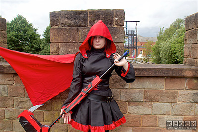 Anime, Black, Blade, Cloak, Corset, Cosplay, Cosplayer, Dress, Female, Hood, Manga, NW Cosplay Summer Meet 2016, Pants, Read, Ruby, RWBY, Scythe, Shoes, Silver, Top, Trainers, Trousers, Video Game, Weapon