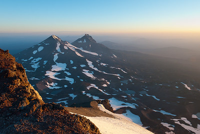 Middle and North Sister from South Sister at Sunrise