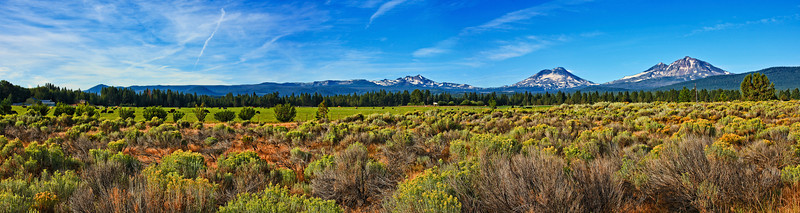 Farmland Under the Three Sisters and Broken Top from the Town of Sisters Oregon
