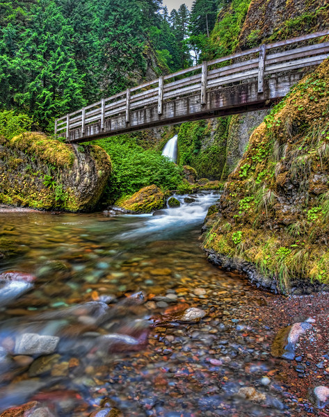 Wahclella Falls and Tanner Creek Trail Bridge.