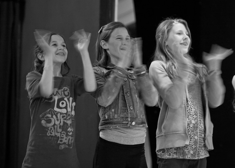 "#571: ""Madeline and her friends are delighted by the Gypsy circus."" <br /> Left to right: Anna Jane Bishop (Clementine), Madison Wray (Madeline), Nicole McCullough (Girl)"
