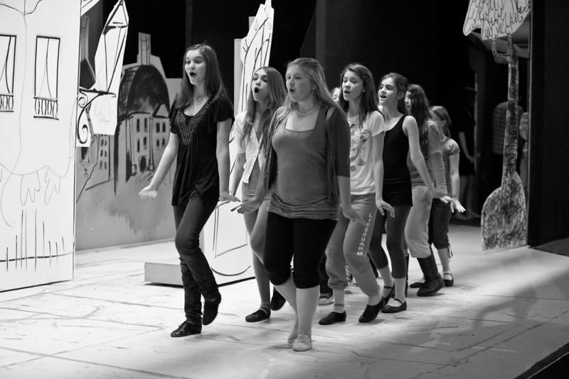 "#527: ""Twelve little girls march in two straight lines.""; <br /> (Left to Right) Allison Merkel, Synden Healy, Alyssa Haning, Claire Aldridge, Rowan Healy, Katie McLoughlin, Torrie Webb"