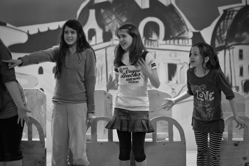 "#623: ""The Girls are distraught over Madeline's disappearance."" <br /> Left to right: Katie McLoughlin (Girl), Sophia Shely (Girl), Anna Jane Bishop (Clementine)"
