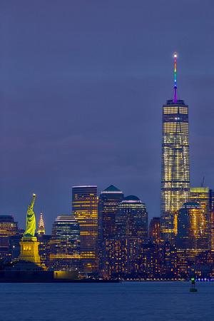 Rainbow lighting of WTC tower