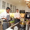New York's famous top Chef Floyed Cardoz  59 years of Bombay died of COVID 19 infection in NYon 25th March 2020 he was tasted positive on 18th march in 1997 he opened restaurent TABLA in Manhatten  with Danny Meyer in photo Chef Floyed preparing food at a party held at Meera Gandhi A global influencer, Humanitarian | Founder of The Giving Back Foundation...pic Mohammed Jaffer-SnapsIndia