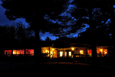Elk Lake Lodge at twilight