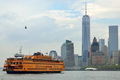 New York City skyline with Staten Island Ferry