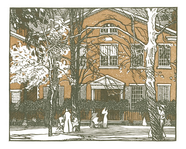 Quaker Meeting House, Stuyvesant Square  New York; a series of wood engravings in colour and a note on colour printing by Rudolph Ruzicka, with prose impressions of the city by Walter Prichard Eaton.