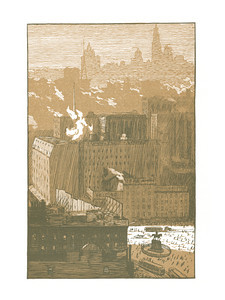 Downtown, A View From Union Square  New York; a series of wood engravings in colour and a note on colour printing by Rudolph Ruzicka, with prose impressions of the city by Walter Prichard Eaton.