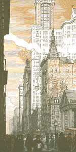 Broadway from the Post Office  New York; a series of wood engravings in colour and a note on colour printing by Rudolph Ruzicka, with prose impressions of the city by Walter Prichard Eaton.