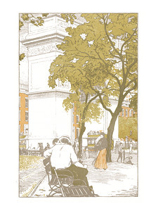 Washington Square  New York; a series of wood engravings in colour and a note on colour printing by Rudolph Ruzicka, with prose impressions of the city by Walter Prichard Eaton.