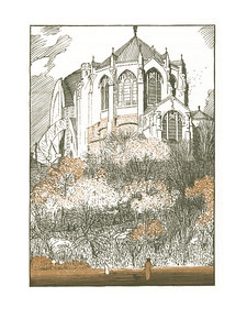 Cathedral of St. John the Divine  New York; a series of wood engravings in colour and a note on colour printing by Rudolph Ruzicka, with prose impressions of the city by Walter Prichard Eaton.