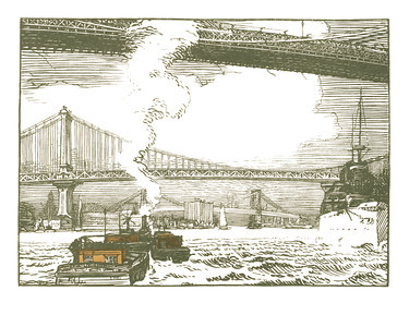 East River Bridges  New York; a series of wood engravings in colour and a note on colour printing by Rudolph Ruzicka, with prose impressions of the city by Walter Prichard Eaton.