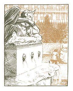 Fountain in the University Park  New York; a series of wood engravings in colour and a note on colour printing by Rudolph Ruzicka, with prose impressions of the city by Walter Prichard Eaton.