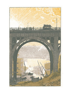 The Viaduct  New York; a series of wood engravings in colour and a note on colour printing by Rudolph Ruzicka, with prose impressions of the city by Walter Prichard Eaton.