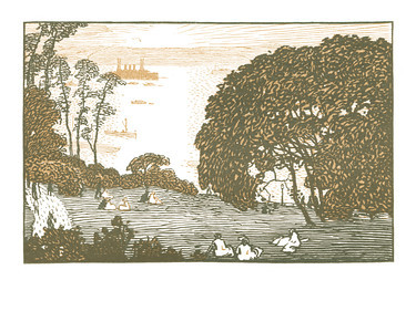 Riverside Drive Park  New York; a series of wood engravings in colour and a note on colour printing by Rudolph Ruzicka, with prose impressions of the city by Walter Prichard Eaton.