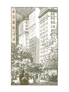 Forth Avenue at Union Square  New York; a series of wood engravings in colour and a note on colour printing by Rudolph Ruzicka, with prose impressions of the city by Walter Prichard Eaton.