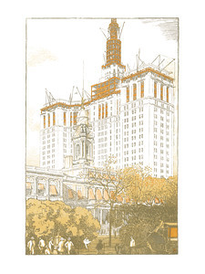 Municipal Office Building in Construction  New York; a series of wood engravings in colour and a note on colour printing by Rudolph Ruzicka, with prose impressions of the city by Walter Prichard Eaton.