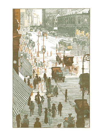 Broadway from Herald Square  New York; a series of wood engravings in colour and a note on colour printing by Rudolph Ruzicka, with prose impressions of the city by Walter Prichard Eaton.